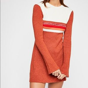 Free People Colorblocked Mini Sweater Retro Dress